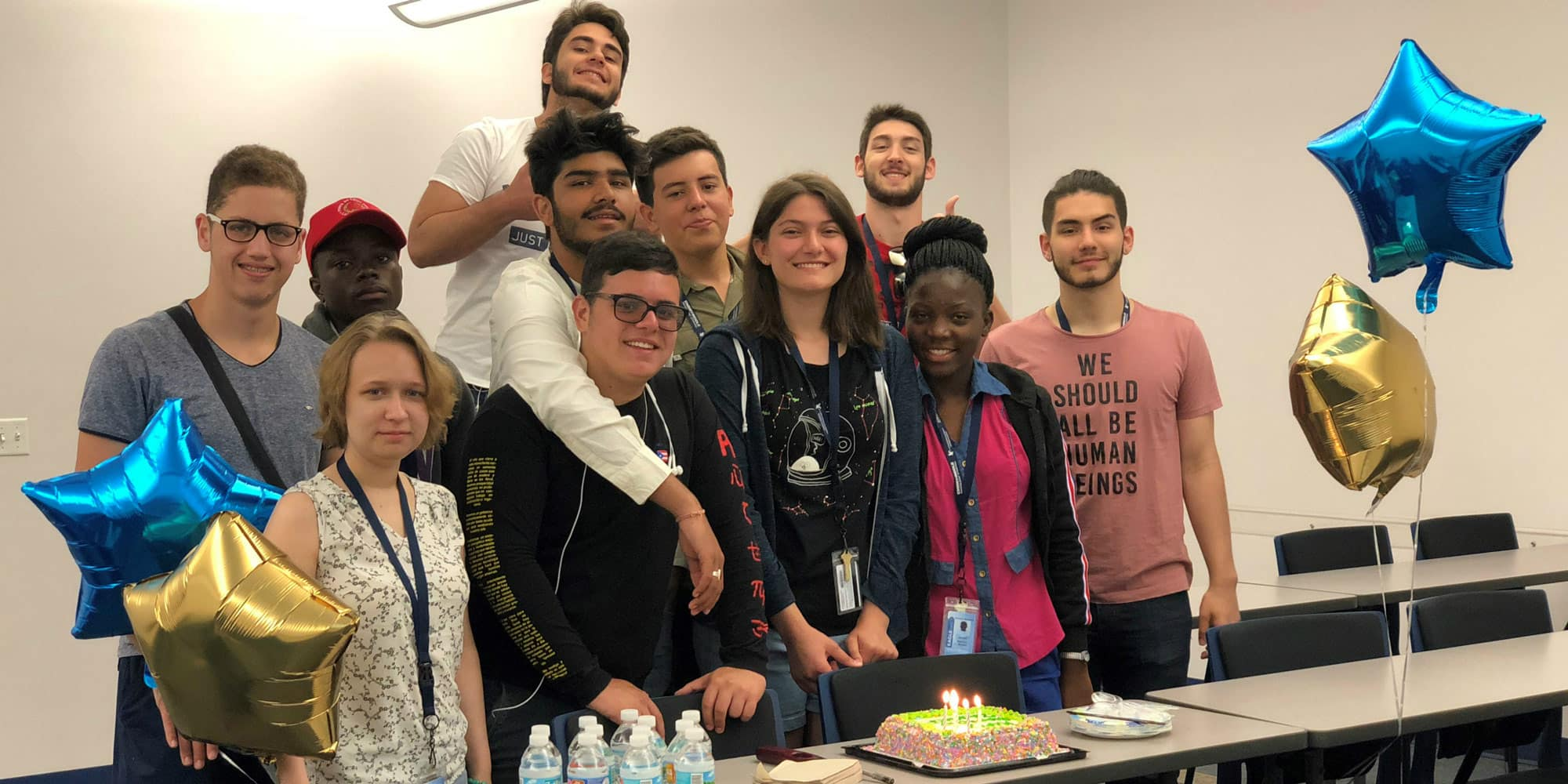 students celebrating a birthday