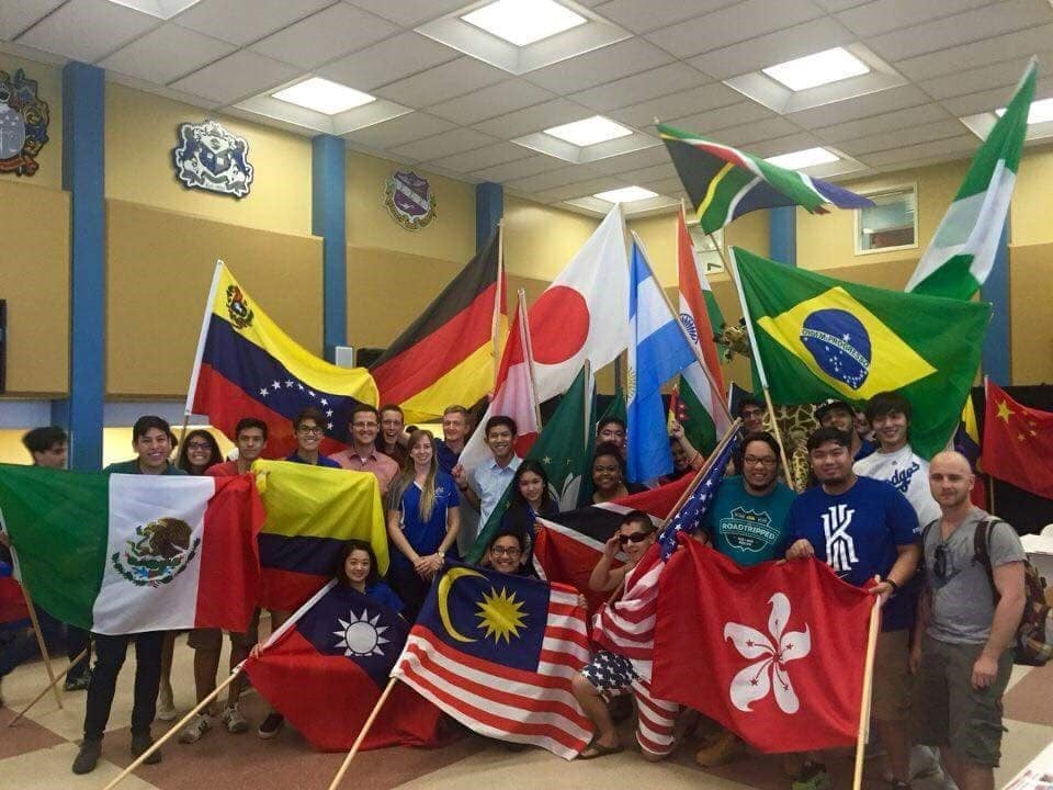 International Students with flags