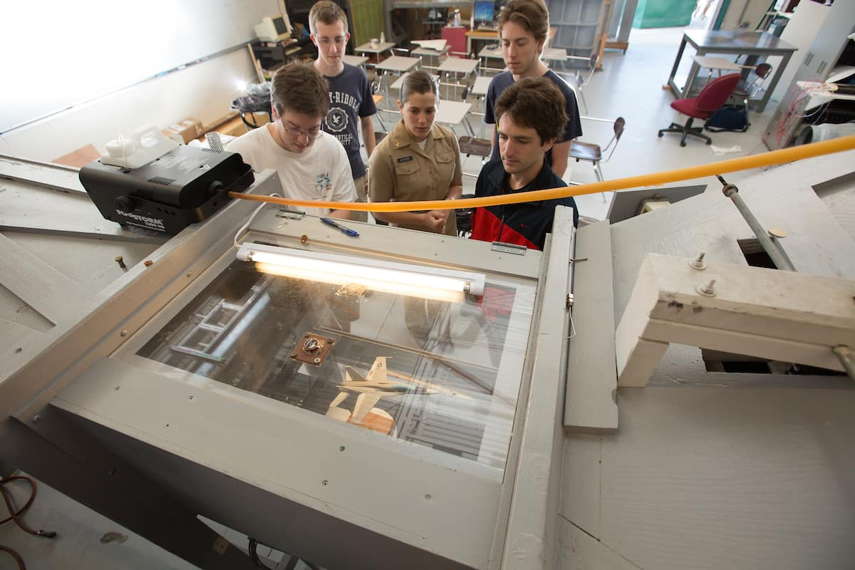 Students in the College of Engineering Wind Tunnel Lab