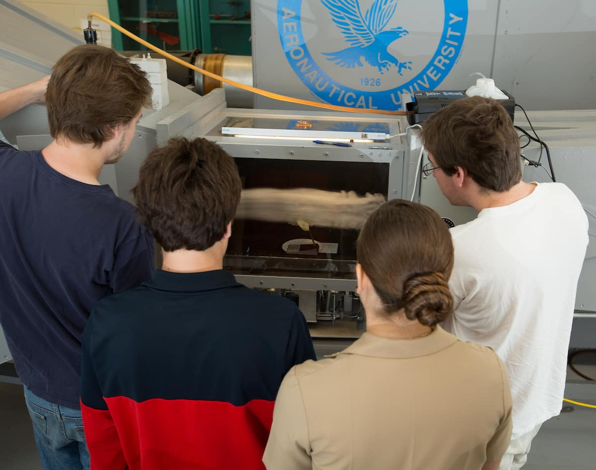 tudents in the College of Engineering Wind Tunnel Lab