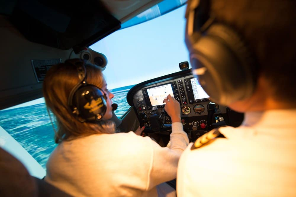 students in the Advanced Flight Simulation Center