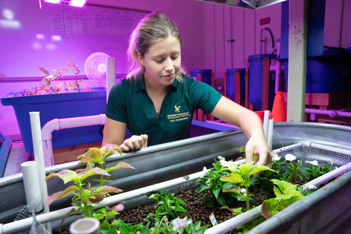 Student checks on plants in the Aquaponics Lab.