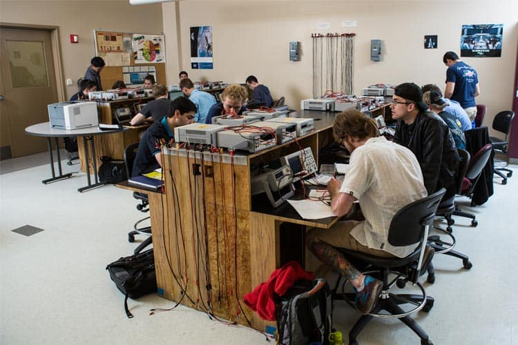 students in the Circuits and Electronics Laboratory