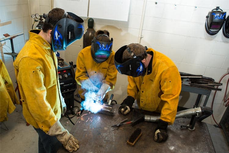 students in the CNC and Welding Laboratory