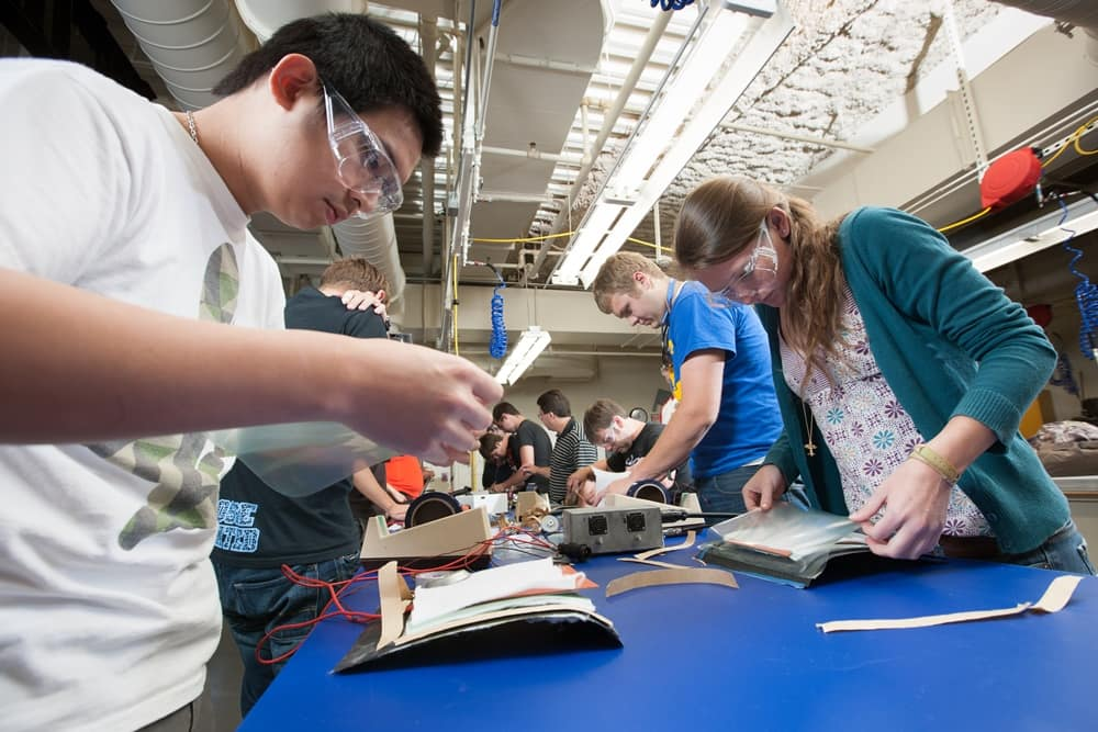 Students work on projects in the Composites Lab