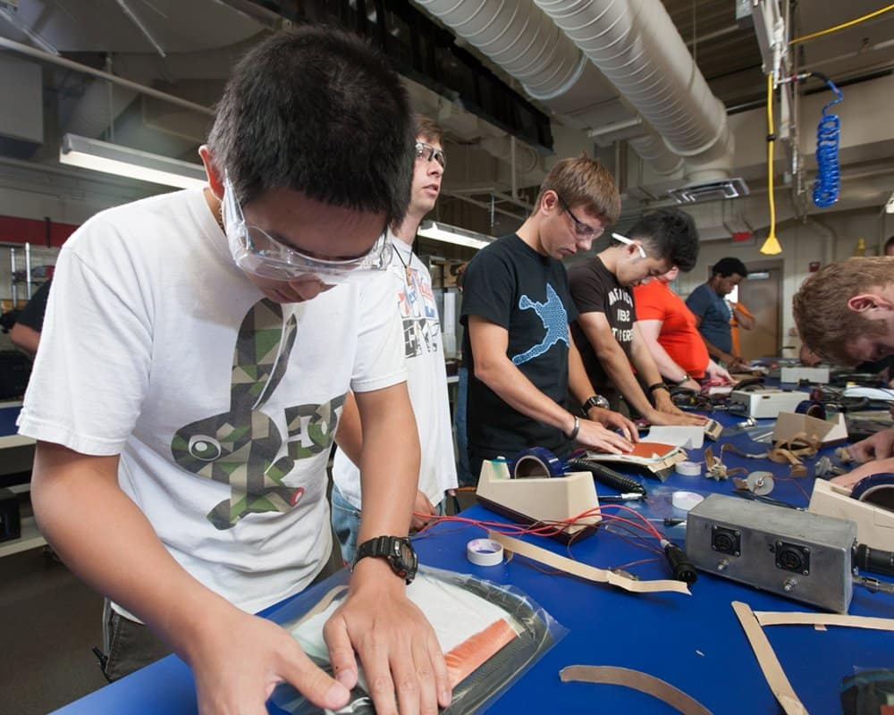 students in the Composites Lab