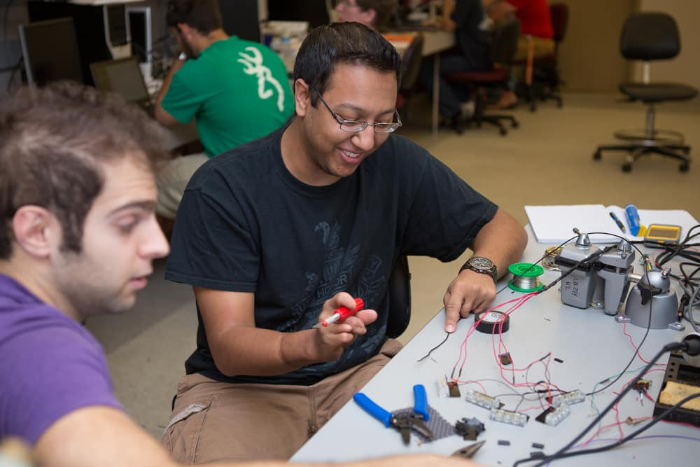 Students work on Electronics in the ECSSE Capstone Design Laboratory