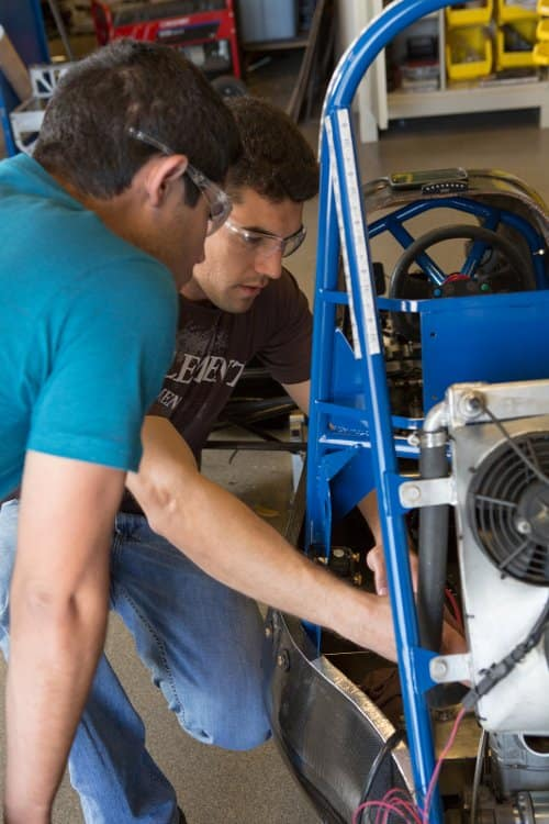 Students work in the High Performance Vehicle Laboratory