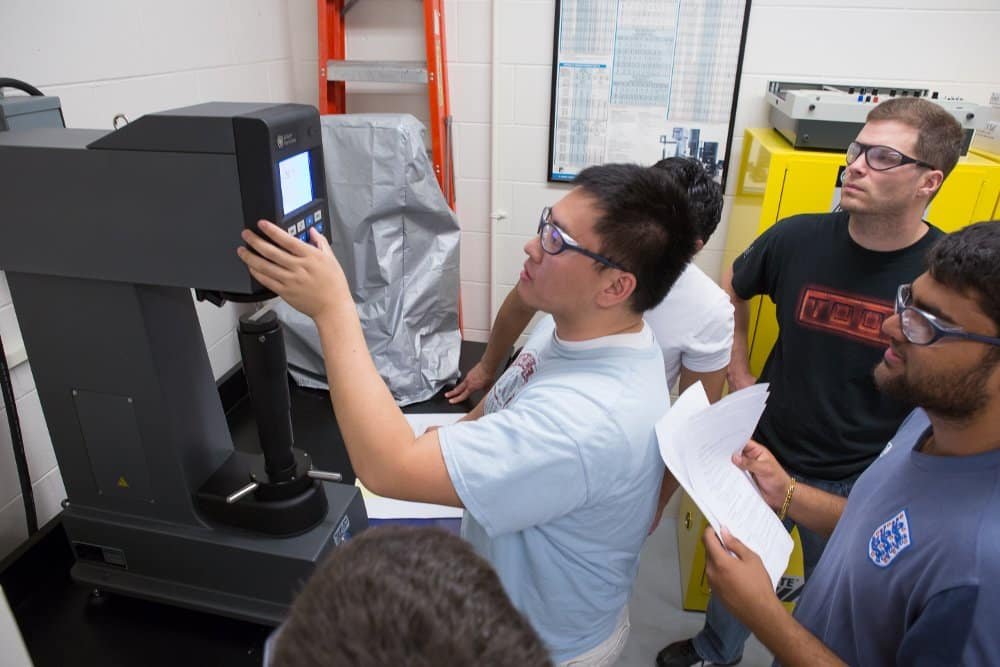 Students work on a project in the Materials Testing Laboratory