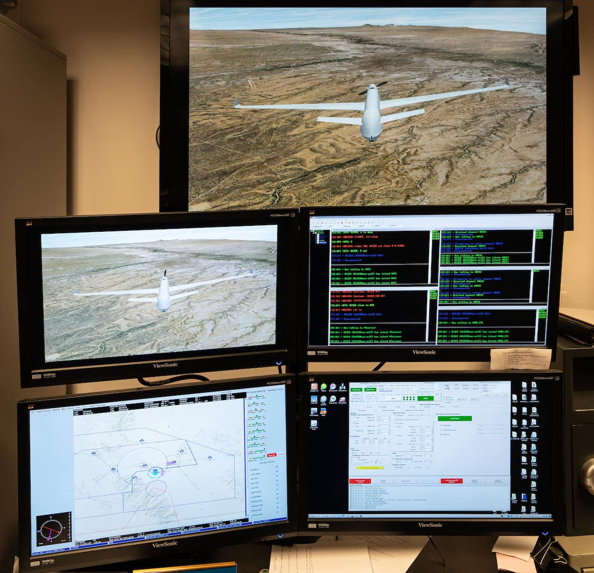 Group of UAS computer screens.