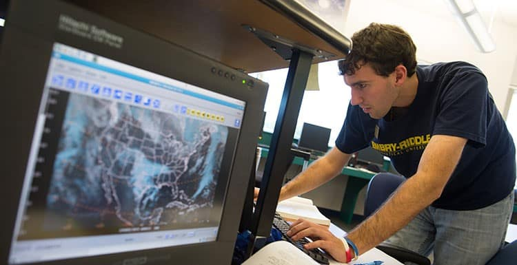 students in the weather center