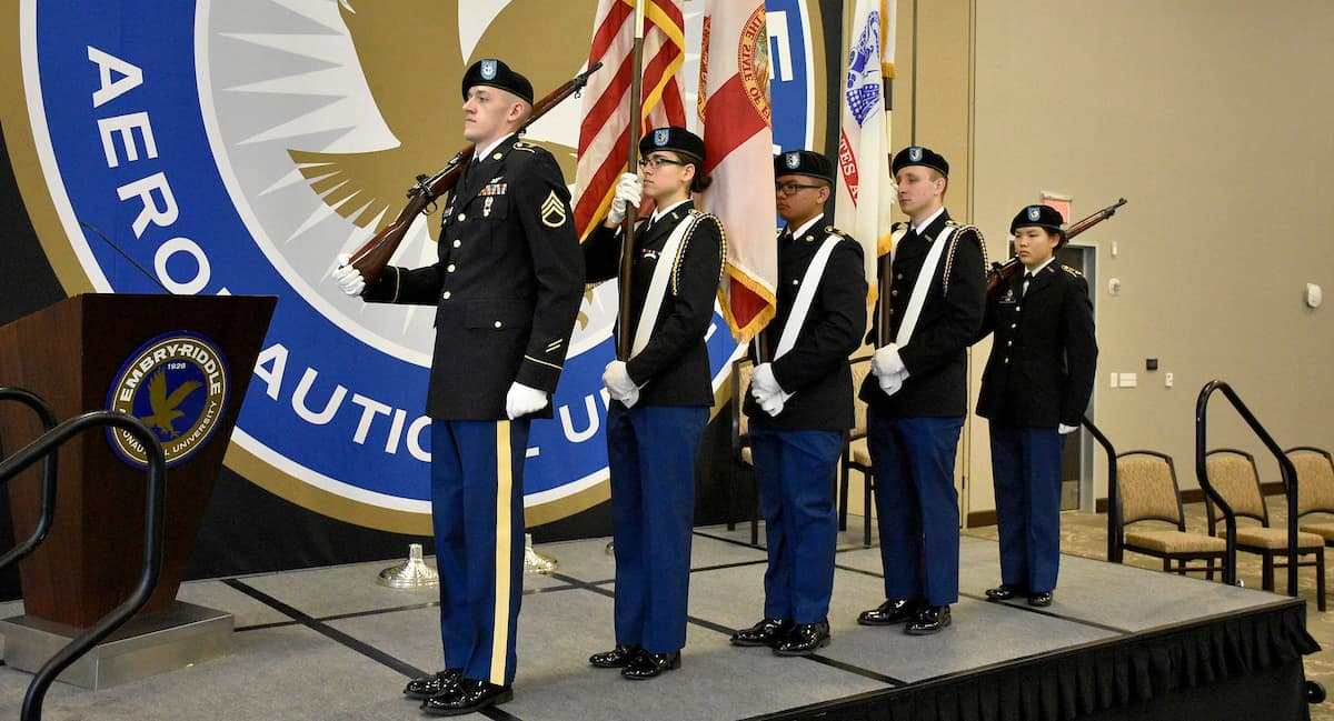 Color Guard performs during Army Commissioning at Embry-Riddle Daytona Beach.