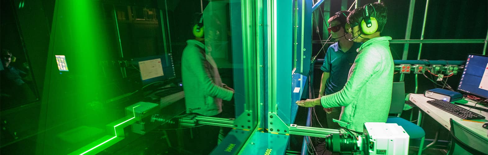 Dr. Zheng Zhang, works with Dhuree Seth, doctoral candidate prepare the high speed cameras while doing ship airway research in the Wind Tunnel at Embry-Riddle Aeronautical University's Micaplex in Daytona Beach.