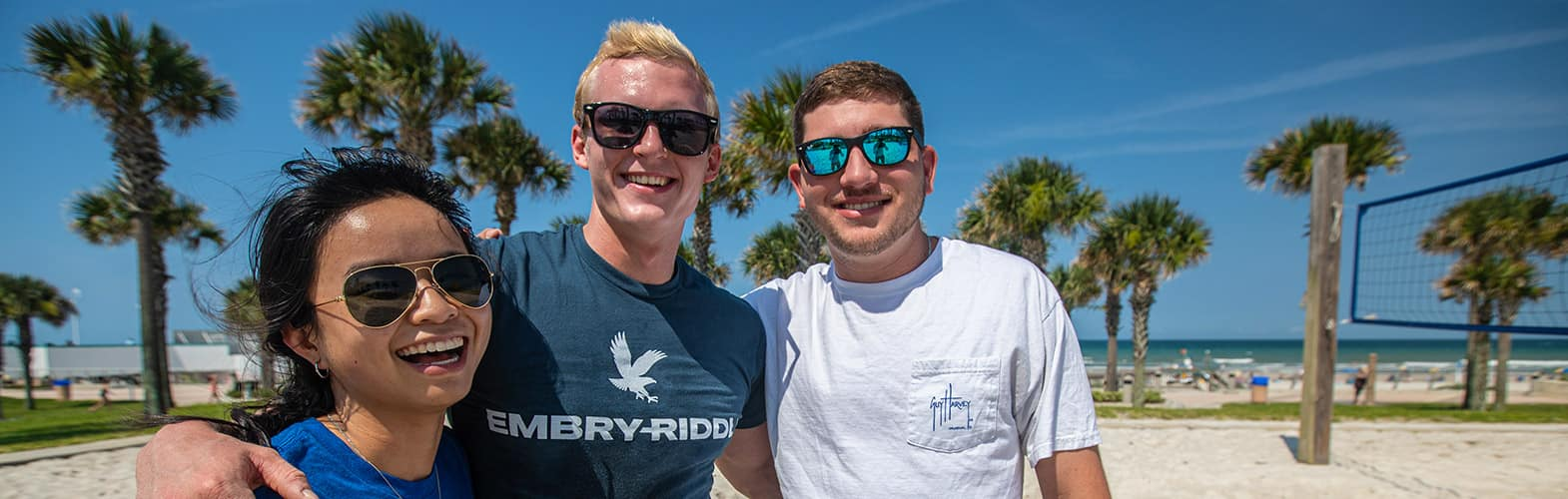 Three Embry-Riddle students at Daytona Beach