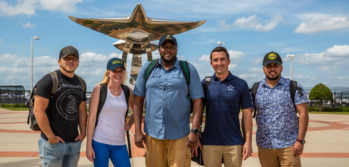 Embry-Riddle Military Veteran students on campus in Daytona Beach.